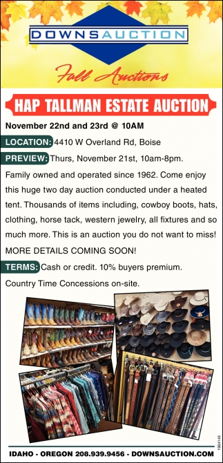 Hap Tallman Estate Auction